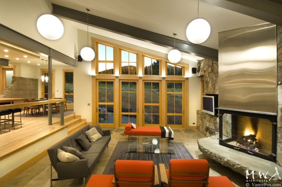 modern living room exposed steel beams fireplace lahontan 380 steel beams exposed beams. Black Bedroom Furniture Sets. Home Design Ideas