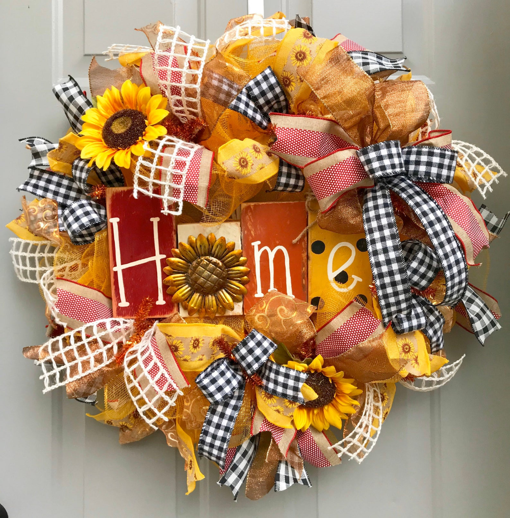 Photo of Sunflower wreath, house wreath, sunflower house wreath, yellow and red wreath, Mother's Day gift, summer wreath