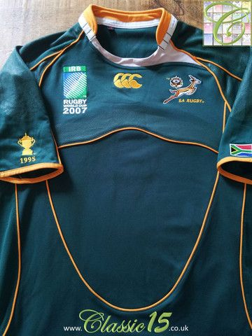 2007 08 South Africa Home World Cup Rugby Shirt L South Africa Rugby Rugby Shirt World Cup Jerseys