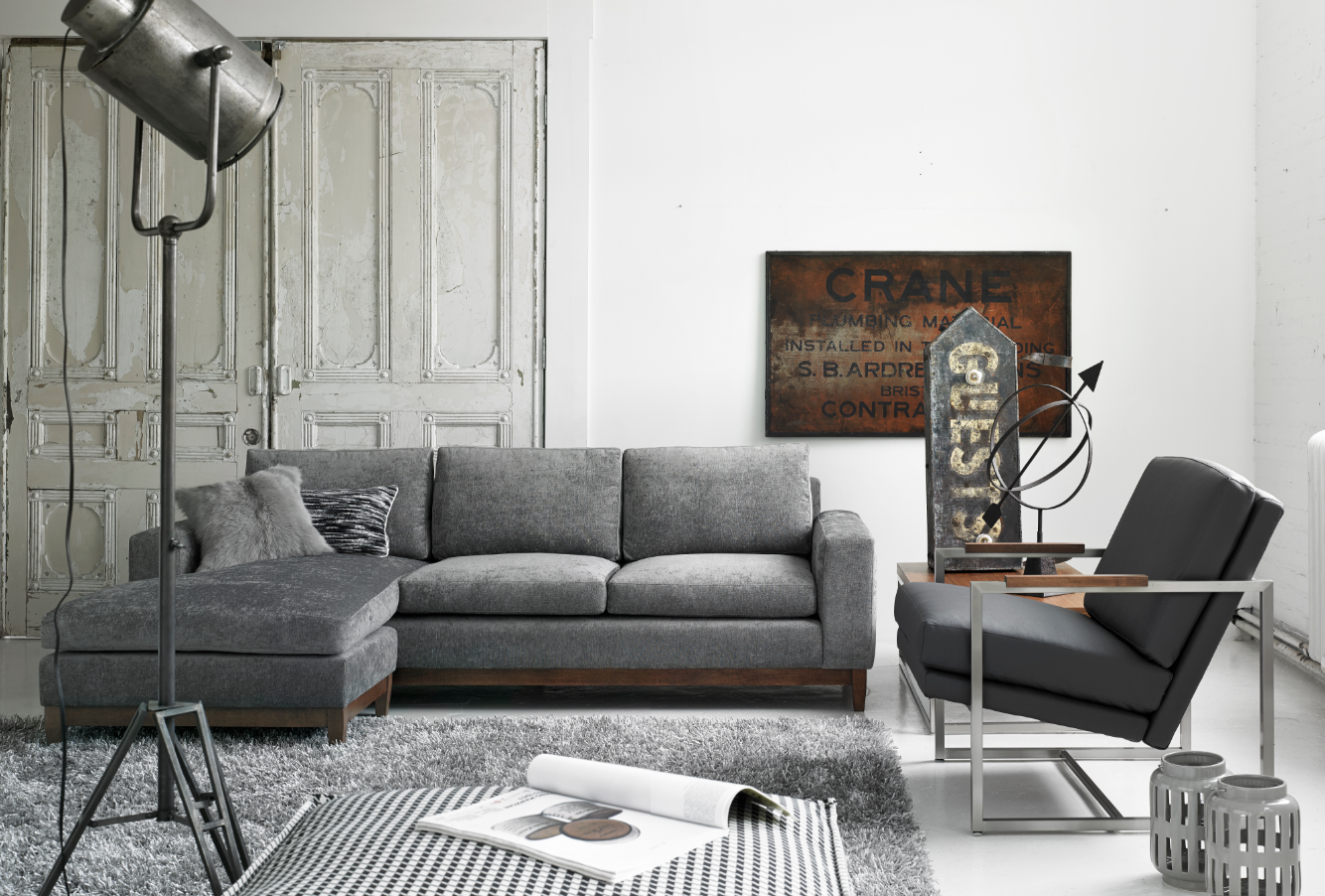 Ellis sectional Contemporary upholstered sectional featuring feather and down filled cushions fabric in a charcoal : down filled sectional - Sectionals, Sofas & Couches