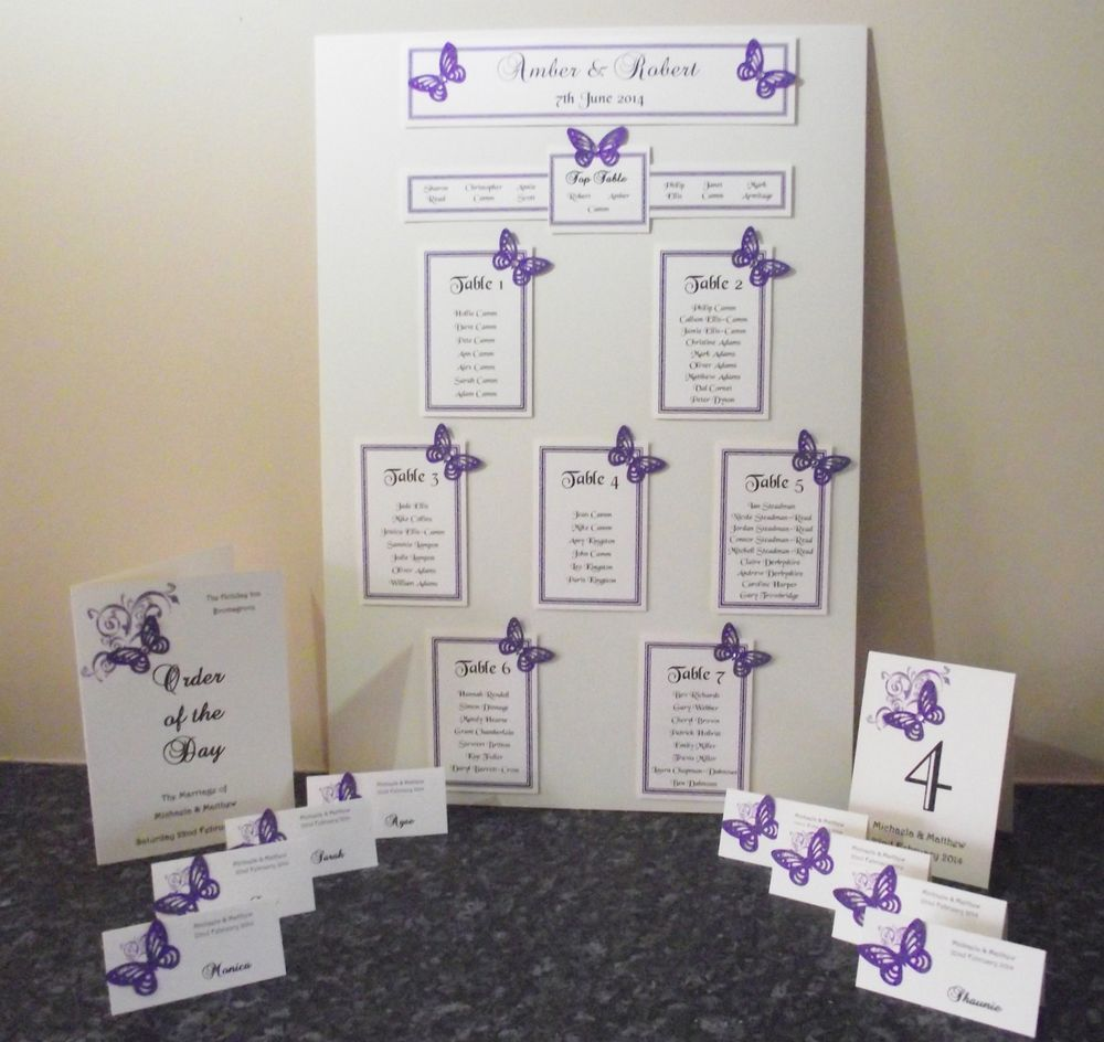 Personalised A3 A2 Wedding Seating Plan Table Planner Butterfly Many Colours