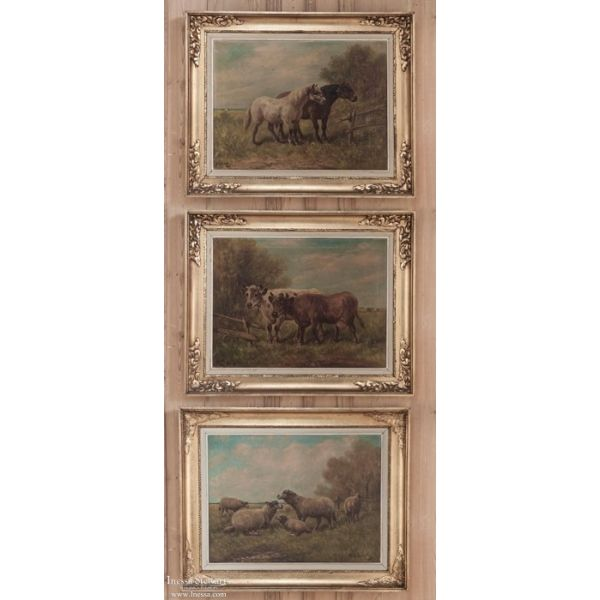 Antique Art   Antique Paintings   Set of Three Framed Oil Paintings ...