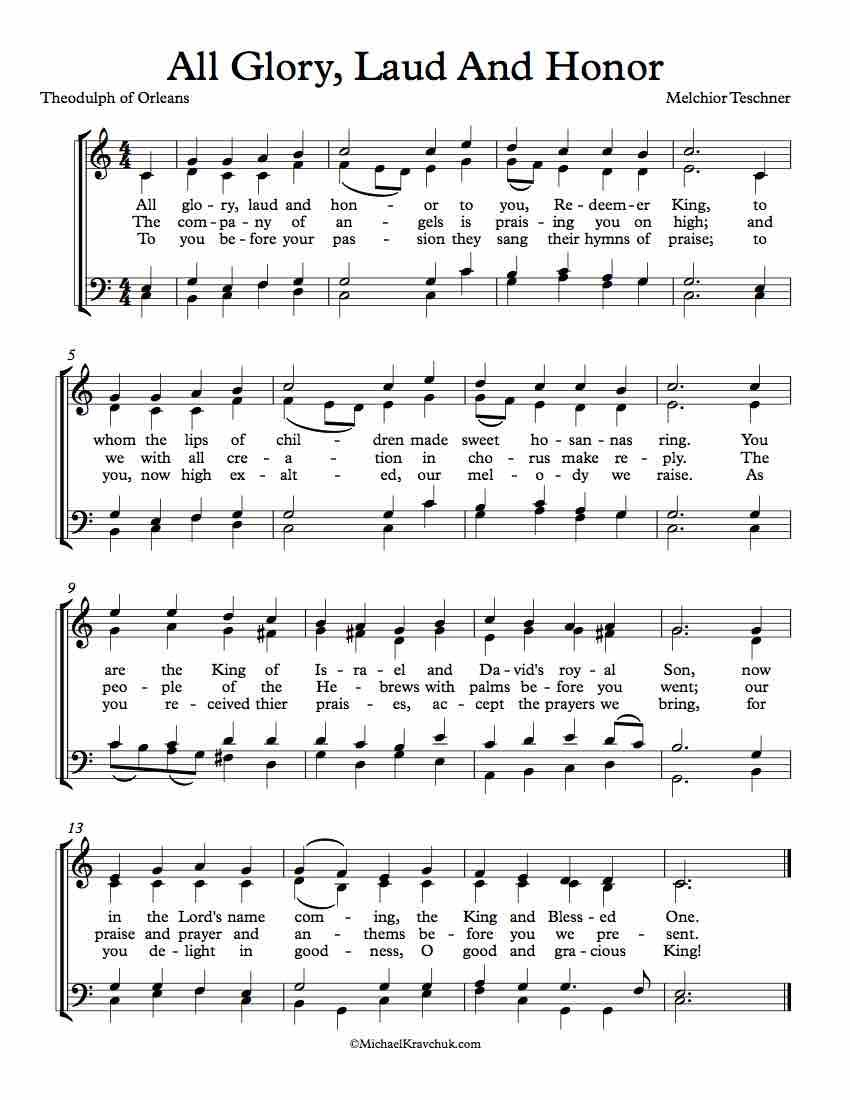 Free Choir Sheet Music All Glory Laud And Honor Key Of Bb
