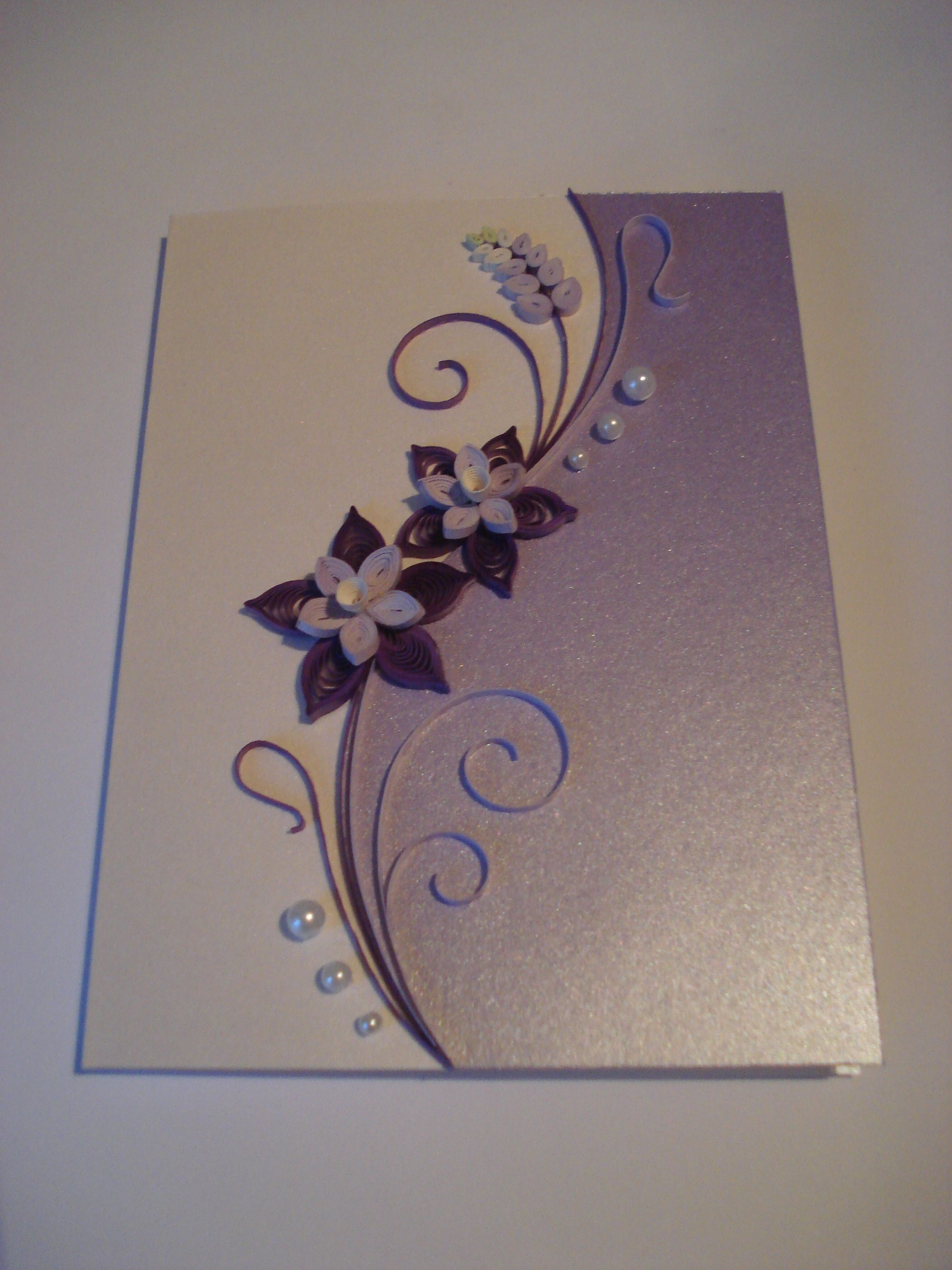 Quilled Paper Handmade Greeting Card With Flowers In Lilac By