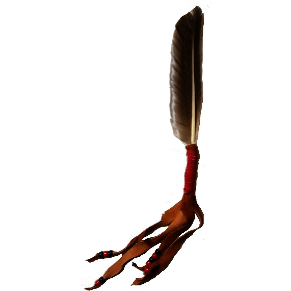 Buzzard Feather Fan - This smudge fan consists of a buzzard wing feather wrapped in rust leather and finished with red and black beads. Handcrafted at Shaman's Marketplace. www.shamansmarketplace.com