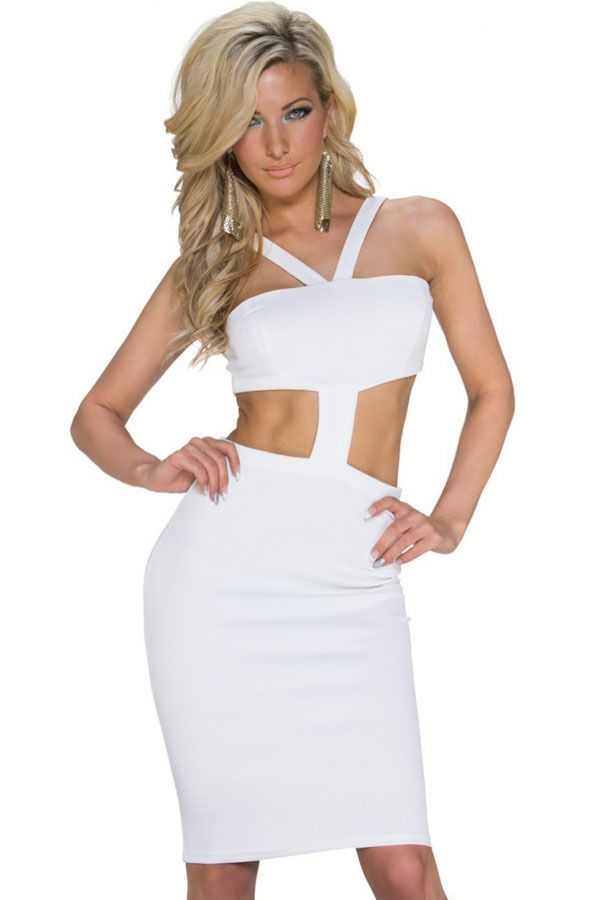 Sleeveless Backless V Neck Hollow Out Bandeau Bodycon Jersey Party Dress 1SIZE #Unbranded #BandeauStretchBodycon #ClubwearSpecialOccasionParty