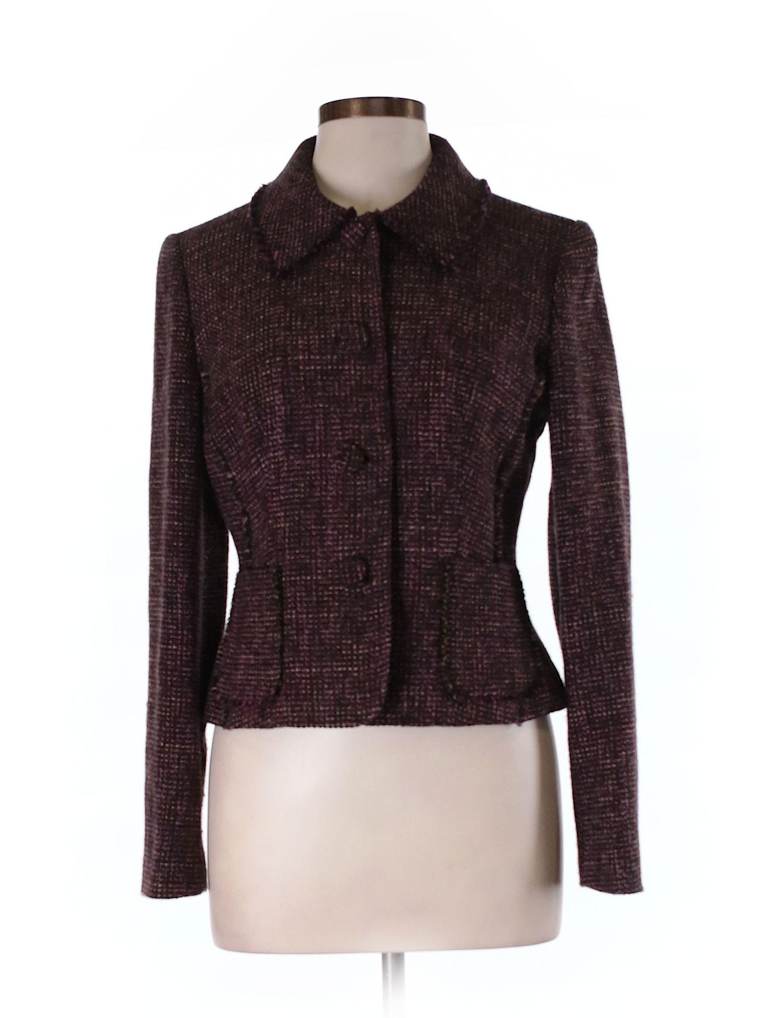 4f81332dfe95 Ann Taylor Wool Blazer: Size 8.00 Dark Purple Women's Jackets & Outerwear -  $18.99