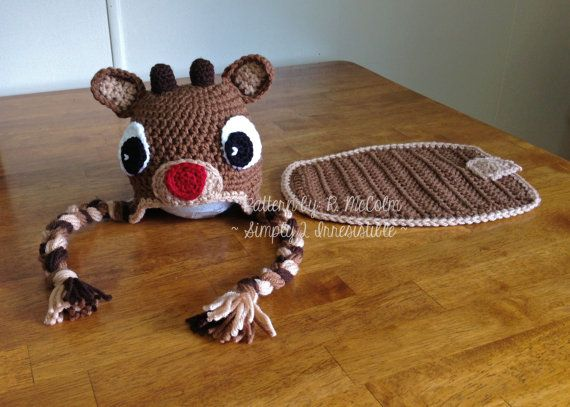 Rudolph Reindeer Hat and Cover Crochet Pattern - Set 111 - US and UK ...