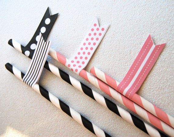 25 Black Swirl Swizzle Sticks and and PDF by CupcakeSocial on Etsy, $3.25