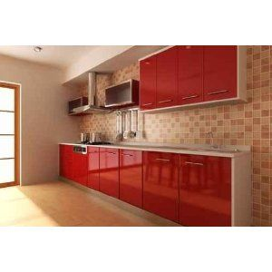 3d Rendering Interior Of A Modern Kitchen Red Kitchen Cabinets Kitchen Design Kitchen Cabinets Farrow And Ball