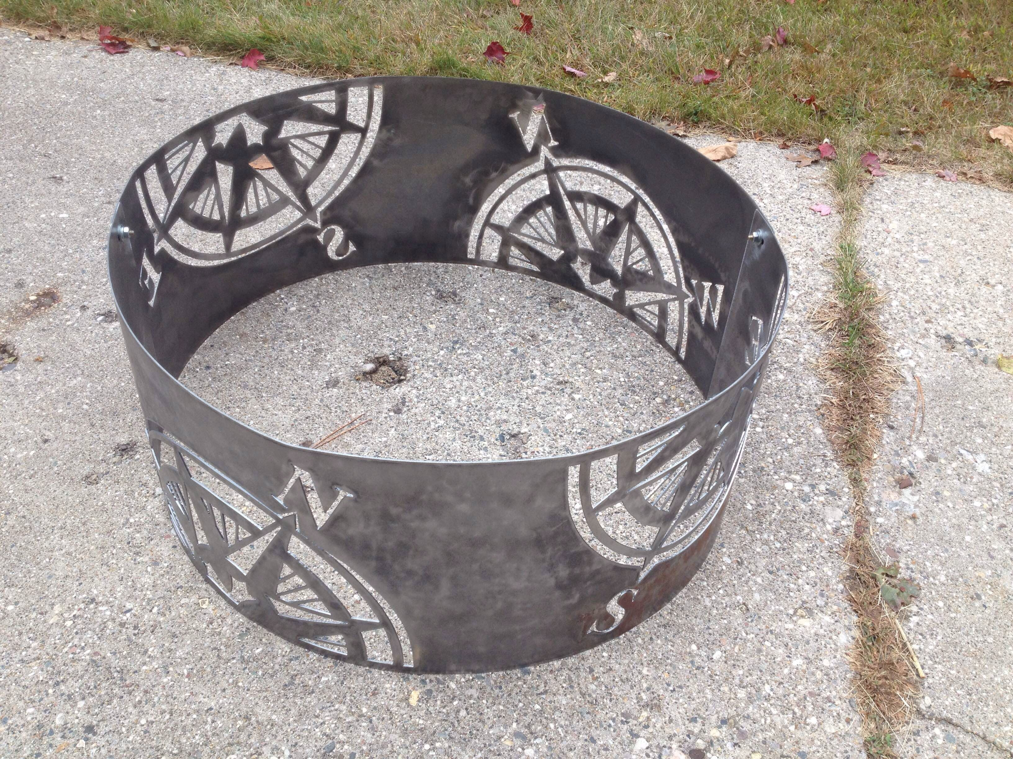 Compass Fire Ring Compass Rose Fire Pit Outdoor Map Etsy Outdoor Fire Pit Fire Pit Backyard Fire Ring