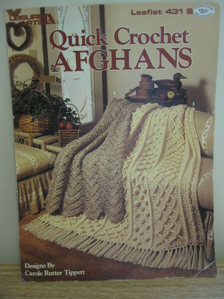 Leisure Arts 431 3 Quick Crochet Afghans Patterns By Carole Rutter