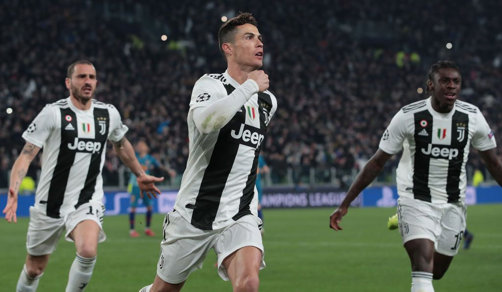 Cristiano Ronaldo of Juventus celebrates his third goal during the…