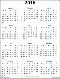 free printable 2016 calendar on one page google search