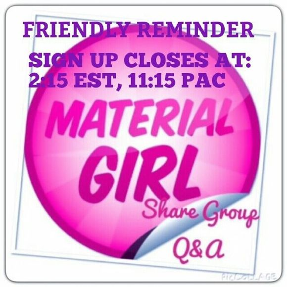 material girl sign up sheet available for today material girl sign