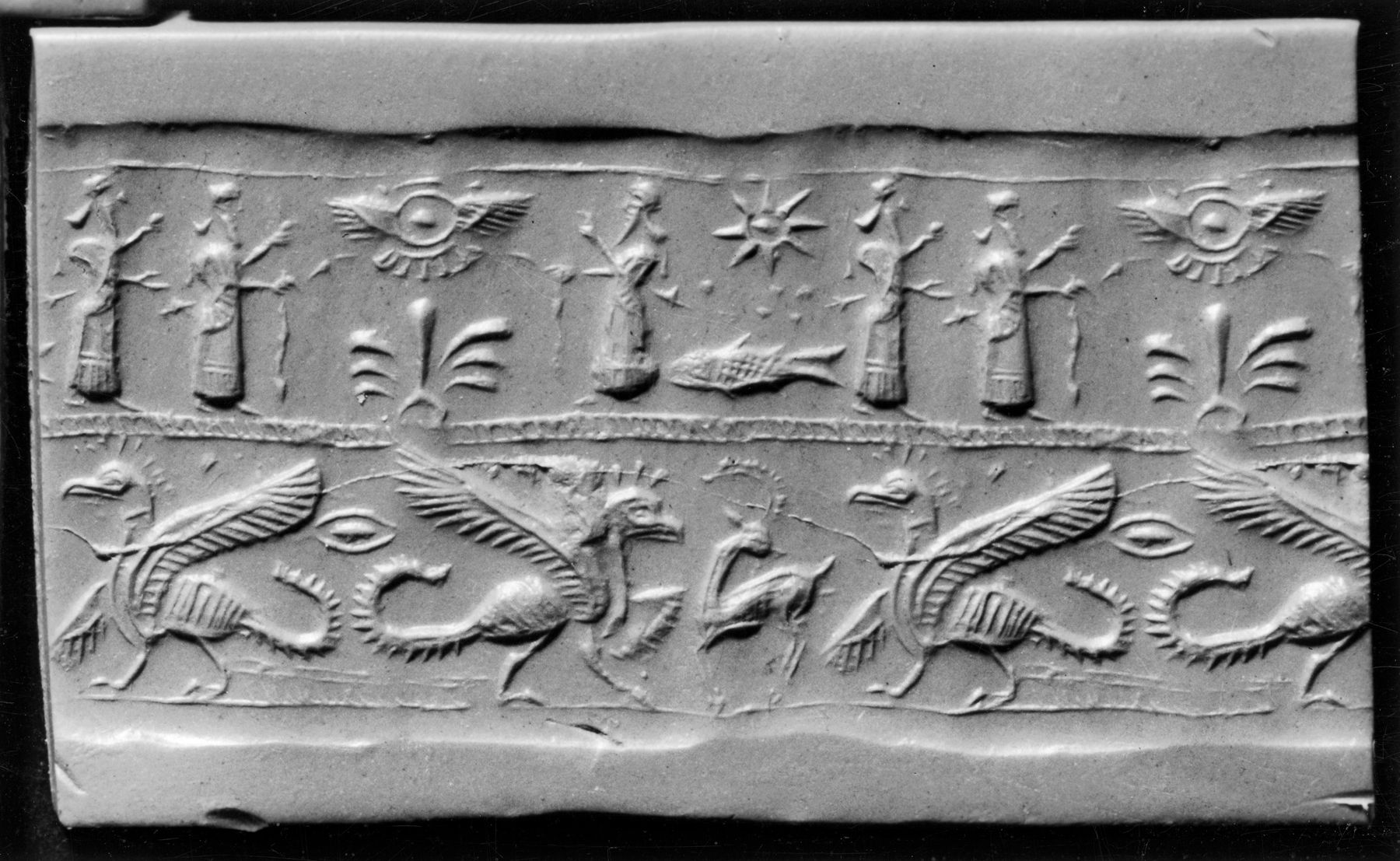 Mesopotamian Cylinder Seal with Griffins, Humans and a Winged Disk ...