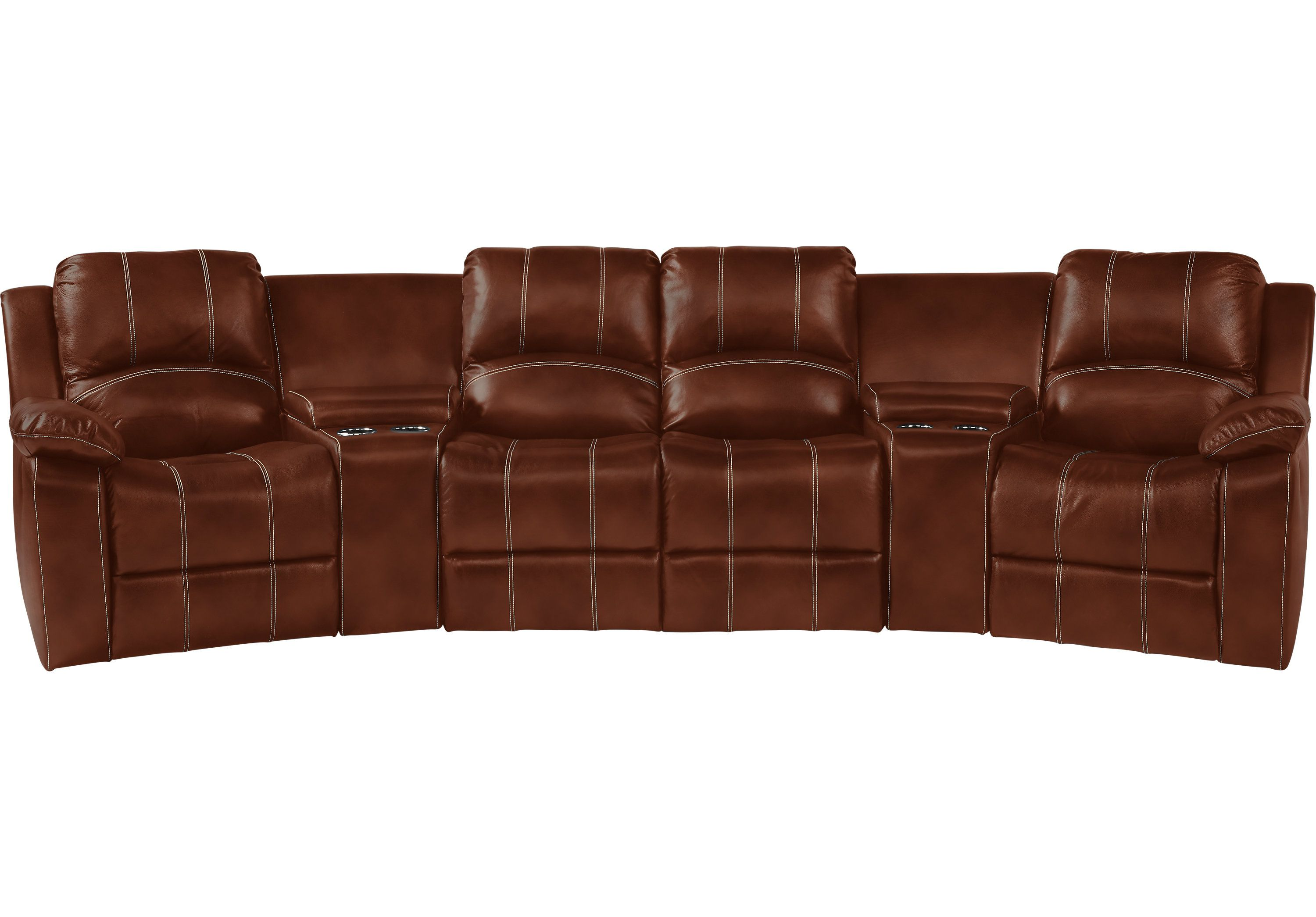 Picture of fenway heights brown 5 pc leather reclining sectional from leather sectionals furniture