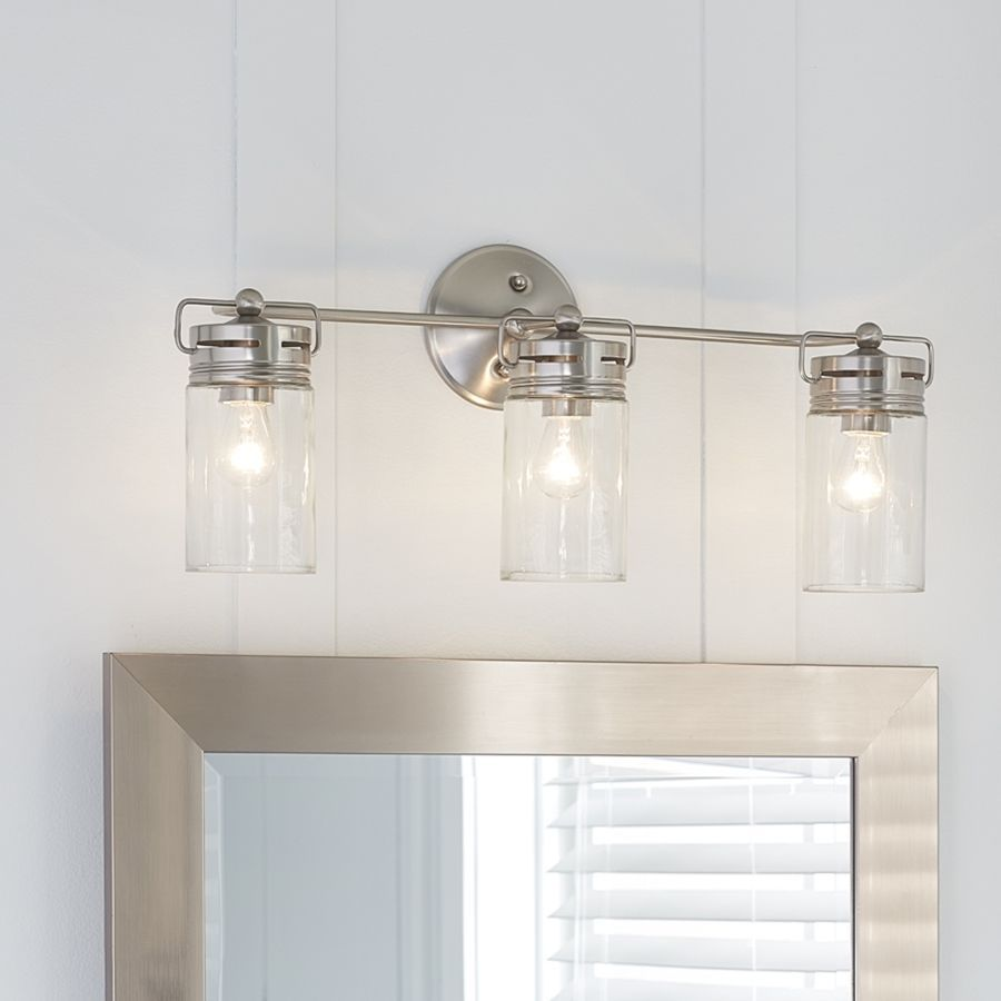 Vallymede 3 Light Brushed Nickel Bathroom Vanity Light Mason Jar Glass Chic Bath In 2020 Bathroom Light Fixtures Bathroom Fixtures Brushed Nickel Bathroom