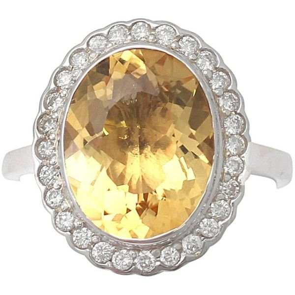 4.15Ct Citrine 0.28Ct Diamond, 18k White Gold Dress Ring Vintage Circa... ($2,005) ❤ liked on Polyvore featuring jewelry, rings, vintage diamond rings, citrine rings, 18k diamond ring, 18k ring and vintage rings
