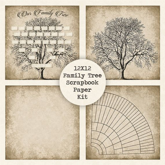 family tree digital scrapbook paper kit instant download 12x12