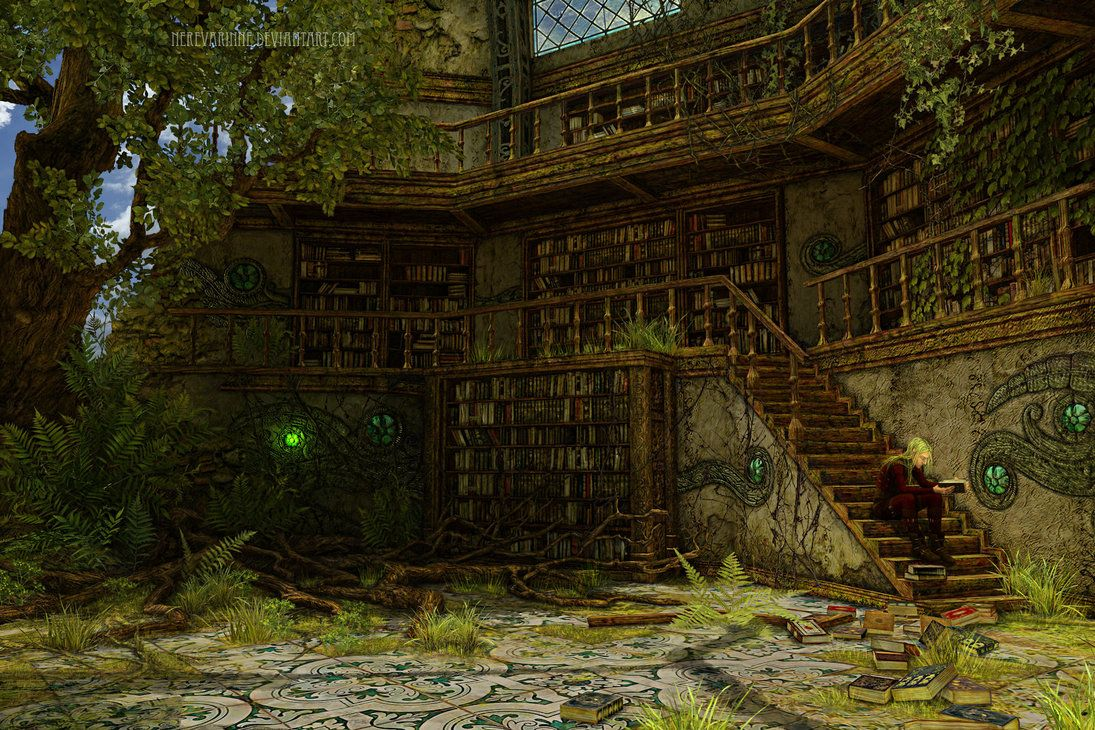 Old Ruined Library II by Nerevarinne | Fantasy Library ...