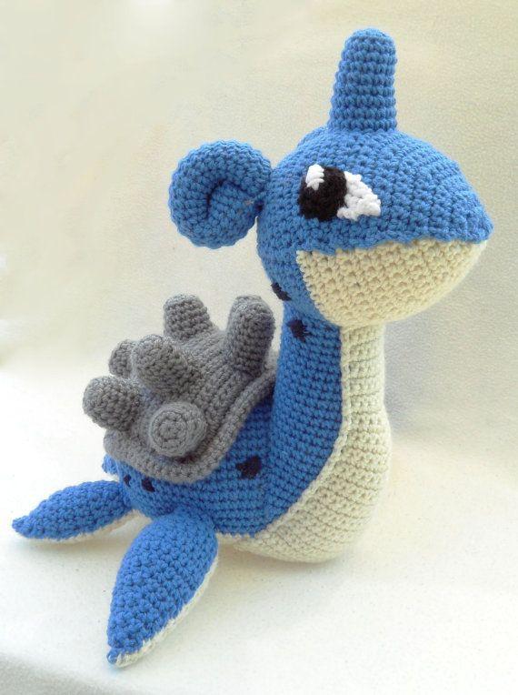 Lapras Crochet Pokemon, $65.00 | Pokemon stuffed crochet knit ...
