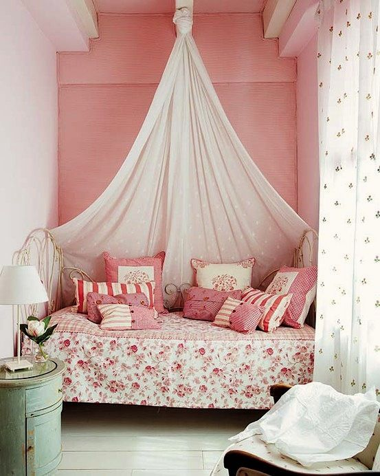 Lovely And Fetching Canopy Bed Kids Bedroom Decoration Ideas With Canopy Bed  And Polka Dot Black White Curtain And Vintage Bedside Table Small Bedroom  ...