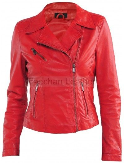 Spunky Women Red Leather Jacket