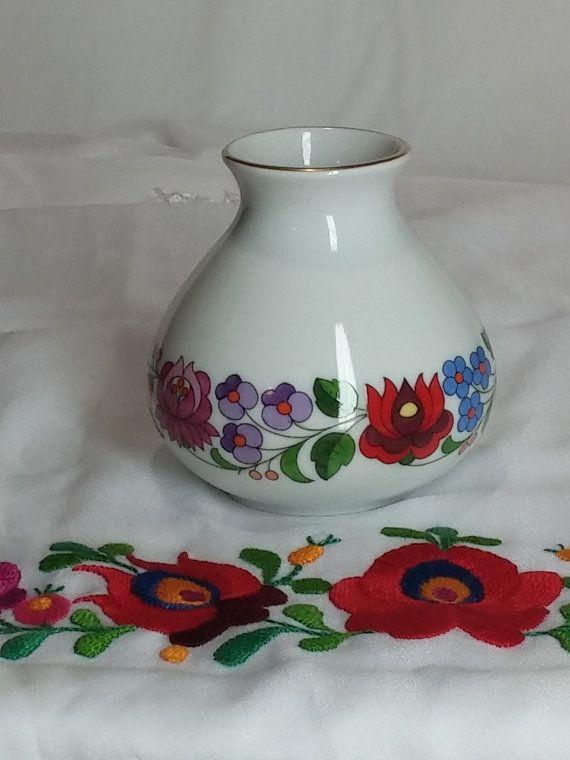 Hungarian Kalocsa Porcelain Vase Hand Painted