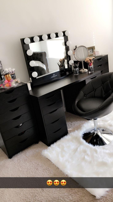 Nice black vanity makeup room! Has IKEA Alex drawers and Linnmon …