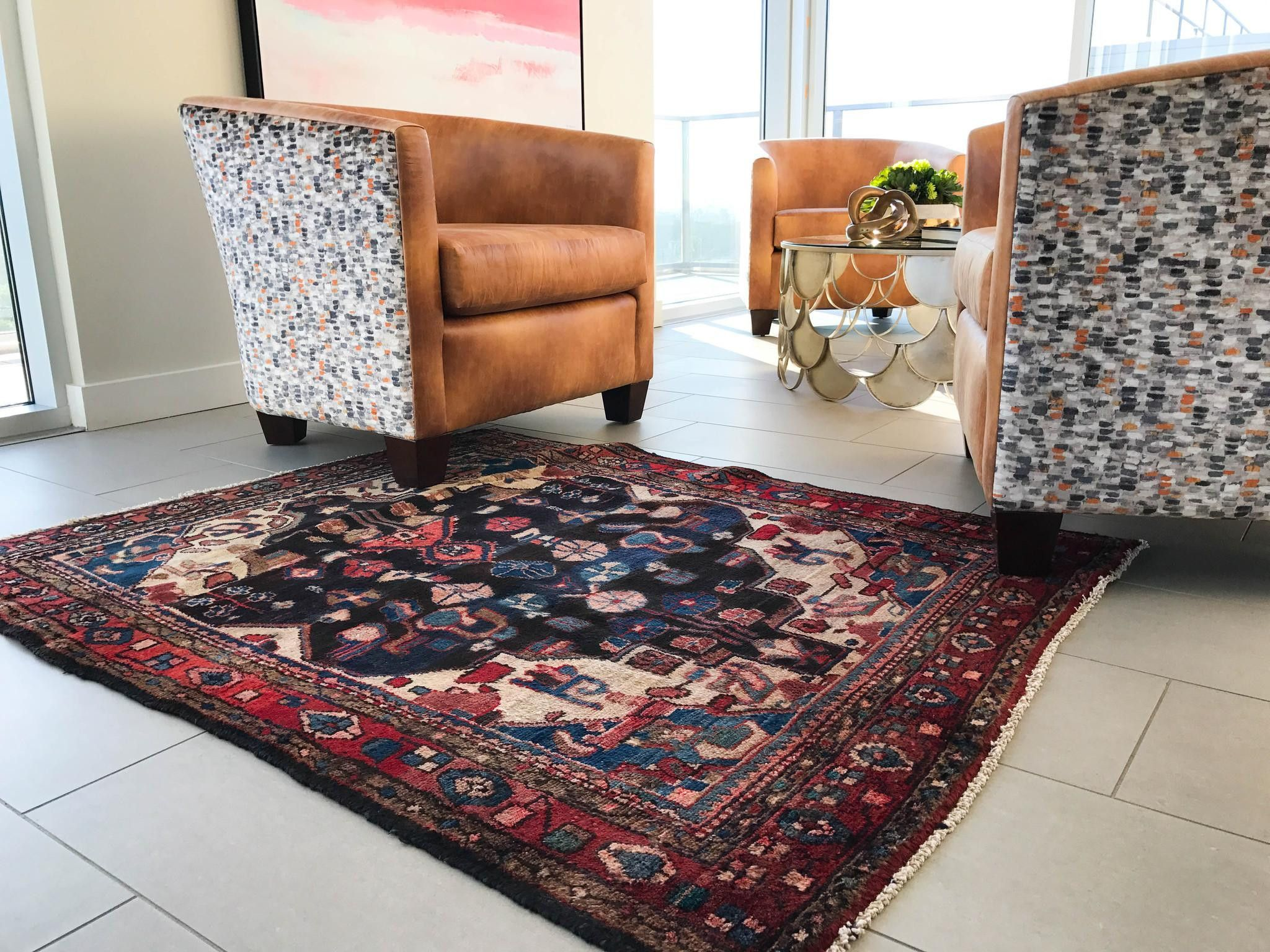 4x4 vintage persian rug blue rug area rug boho rug
