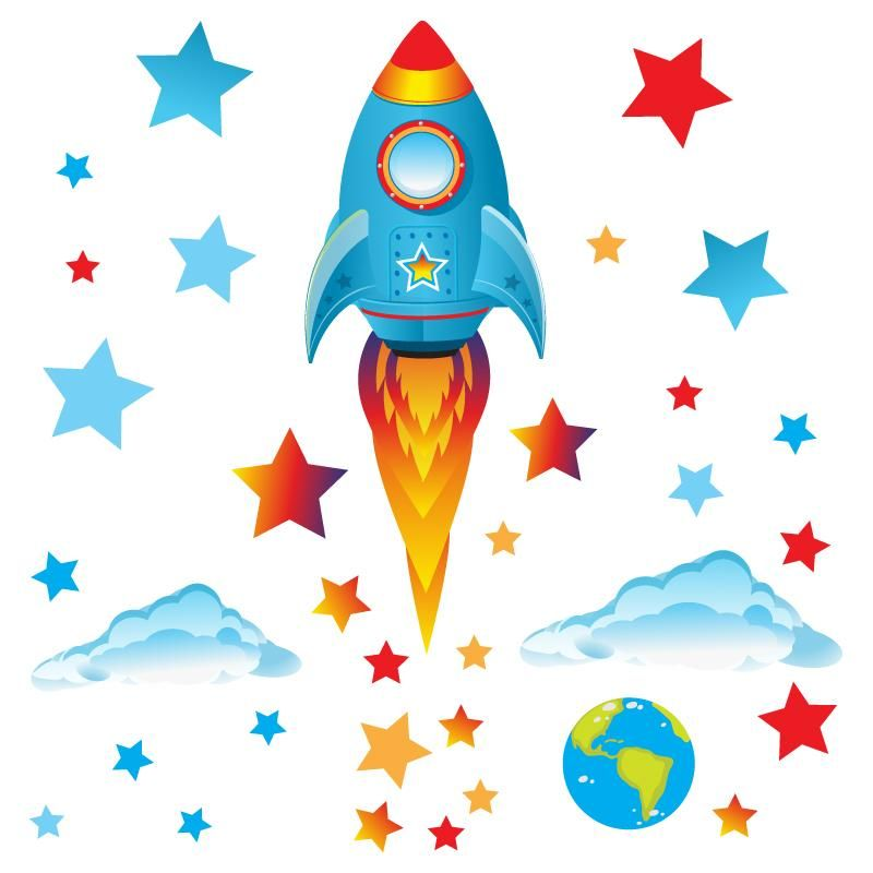 Big Blue Rocket Wall Sticker Pack - Medium