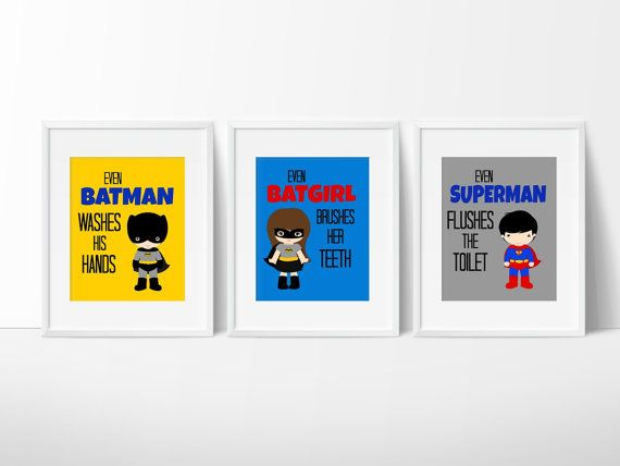 Super Sibling Bathroom Prints Kids by SimplyLoveCreations on Etsy
