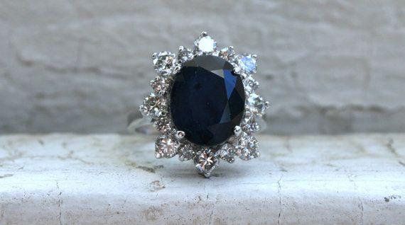 Gorgeous Vintage Halo 14K White Gold Diamond and by GoldAdore