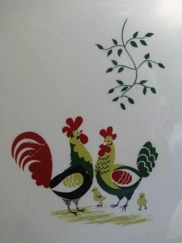 1940s pottery dinner plates folk art rooster pattern vintage kitchen & 1940s pottery dinner plates folk art rooster pattern vintage ...