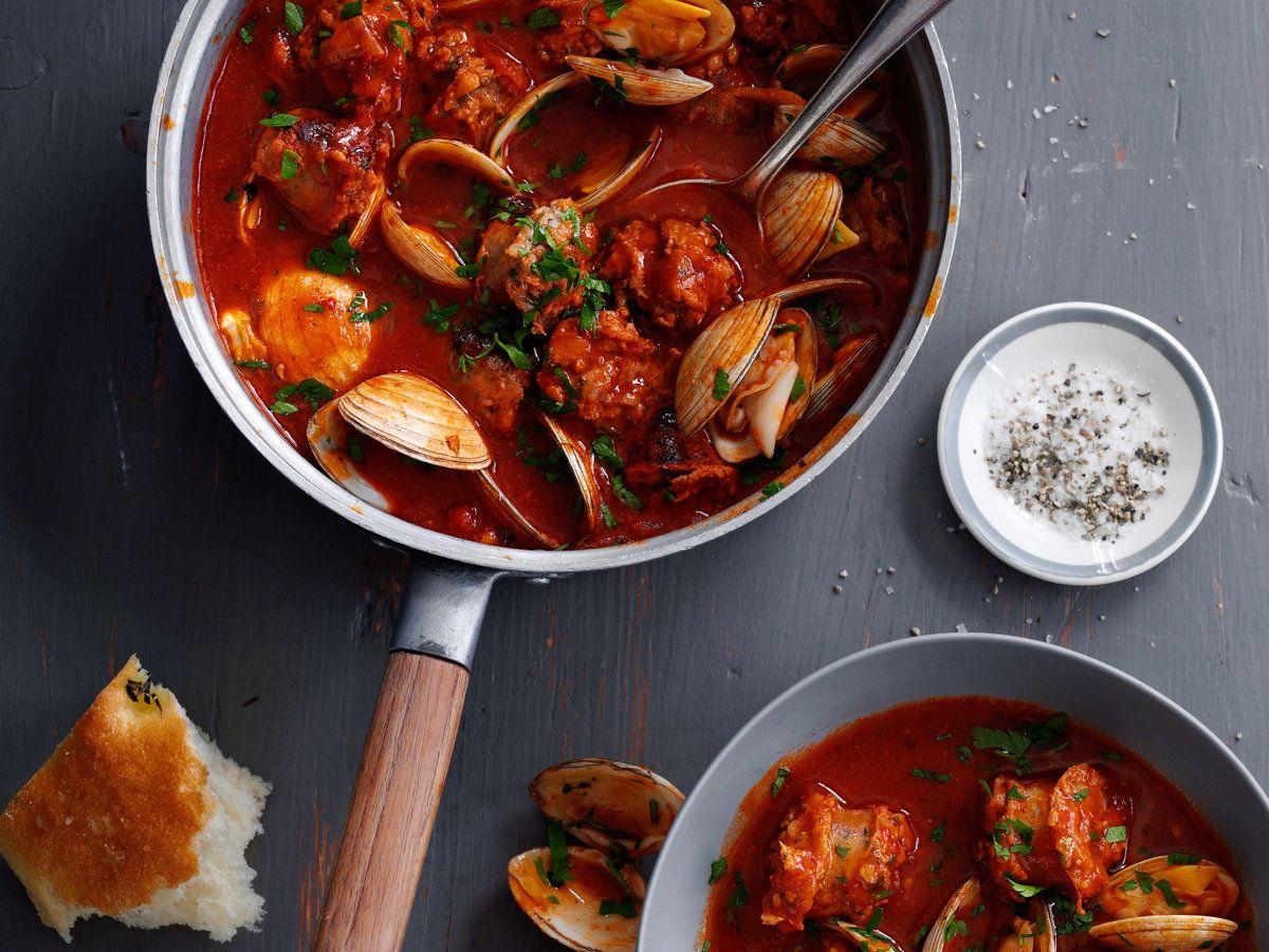 Cataplana Stew With Sausage And Clams Recipe Seafood Recipes Clam Recipes Recipes