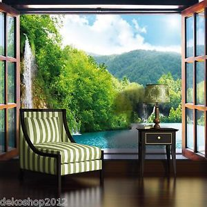 vlies fototapete tapete fototapeten tapeten wasserfall eden im fenster 716ve z4 luxury. Black Bedroom Furniture Sets. Home Design Ideas