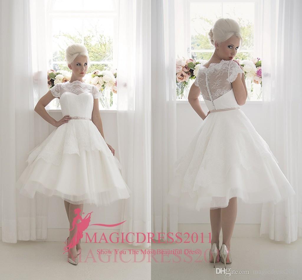 Florence vintage tea length wedding dresses with lace short sleeve