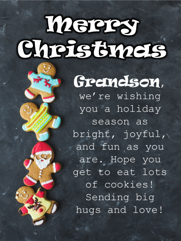 To a Dear Grandson and His Partner Christmas Wishes With Love Card