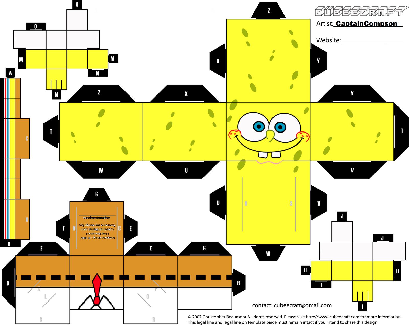 Spongebobcubeecraftbycaptaincompsong printables