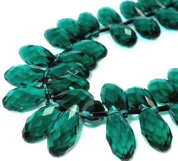 Briolette emerald deep green crystal Pendant by ShimmeringCloud, $2.40
