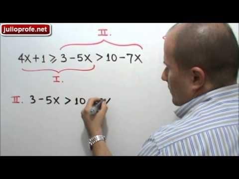 Solución de desigualdad lineal con tres componentes: Julio Rios explica cómo obtener el conjunto solución de una desigualdad lineal con tres componentes.