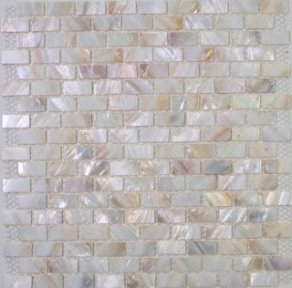 White Mother Of Pearl Tiles Mop Shell Tiles In Brick Design Modern Bathroom Tile Hong Kong By Dintin Tile Bathroom Pearl Tile Patterned Bathroom Tiles