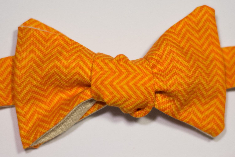 Creamsicle Bow Tie by CrookedBowTie on Etsy https://www.etsy.com/listing/455189806/orange-chevron-self-tie-bow-tie