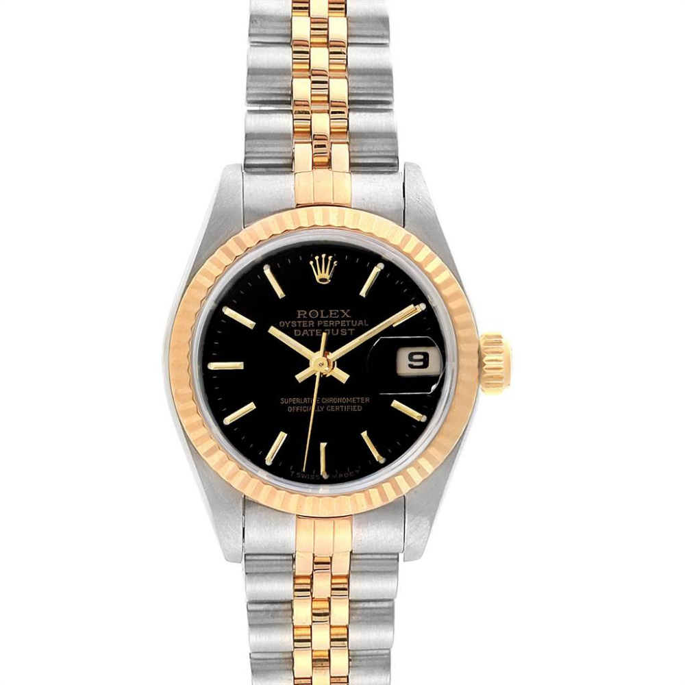Rolex Datejust 26mm Steel Yellow Gold Black Dial Ladies Watch 69173 Rolex Rolex Watches Women Rolex Datejust