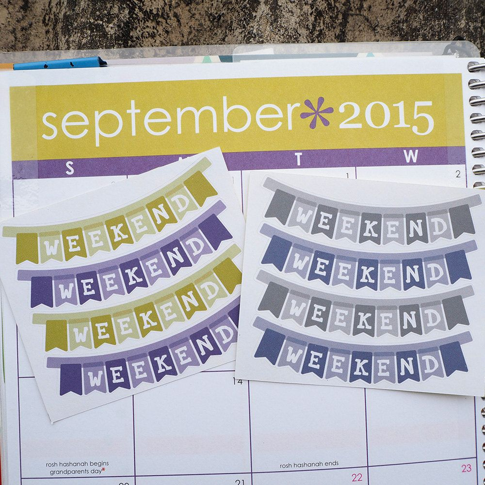 4 September Weekend Banner Sticker Planner // Perfect for Erin Condren Life Planner by FasyShop on Etsy