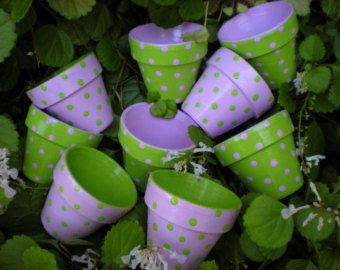 Painted Flower Pot Polka Dots 4 Inch Planter Polka Dot Planter Herb Planter Succulent Planter Thes Painted Flower Pots Small Flower Pots Flower Pots