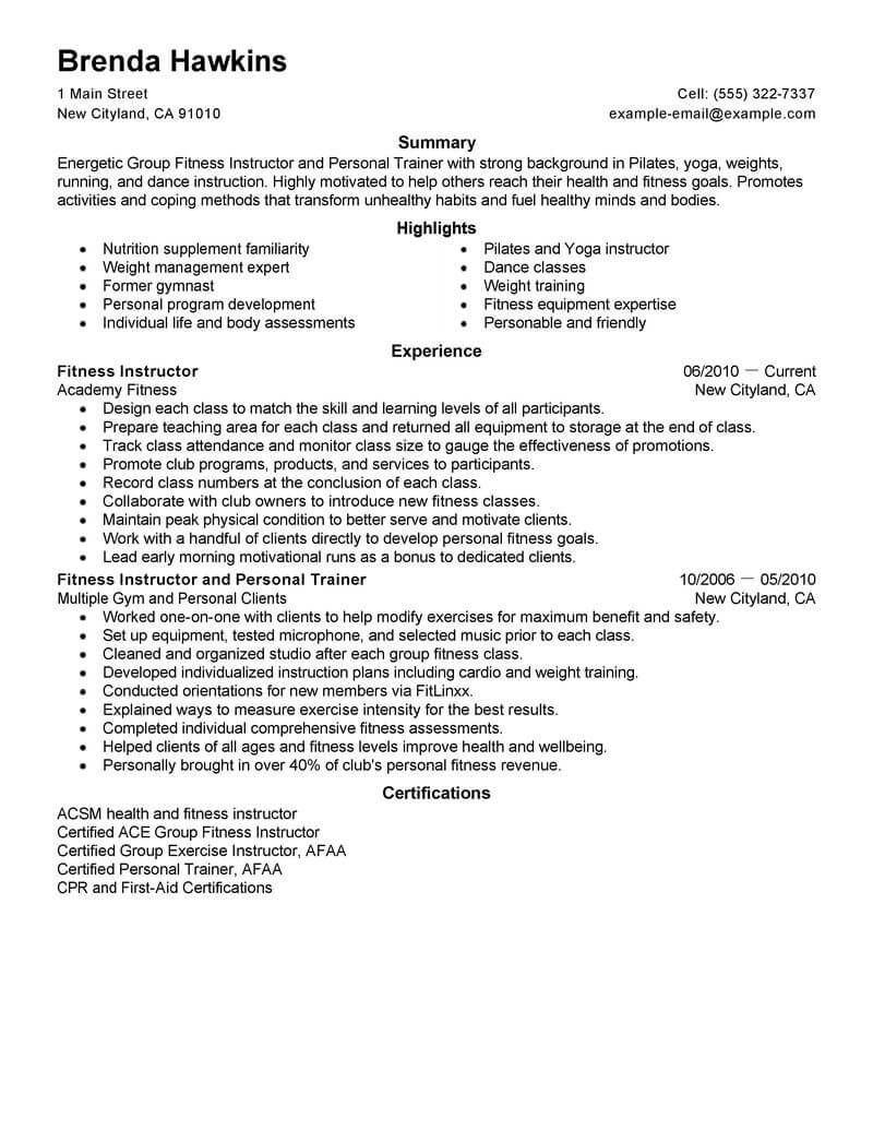 Personal Trainer Resume Check more at https//cleverhippo
