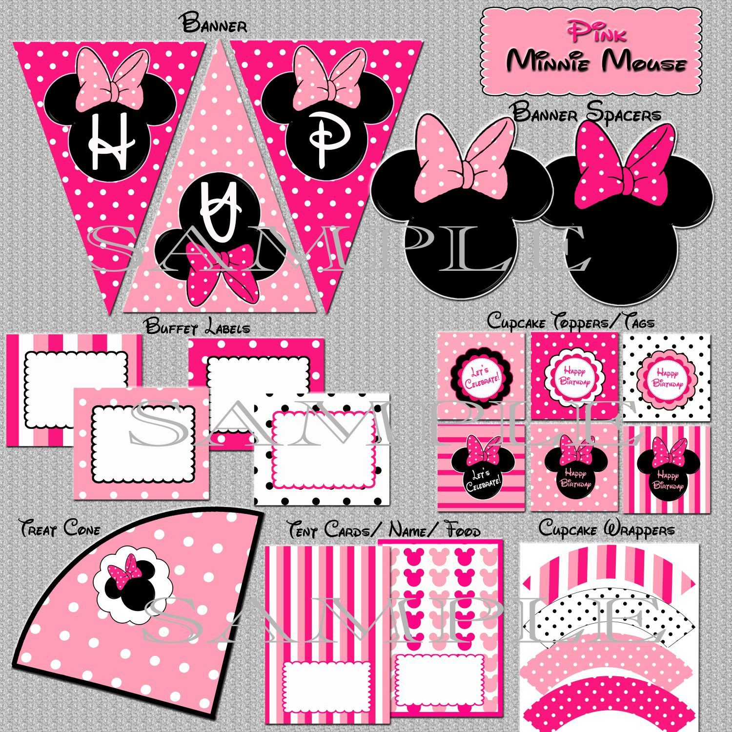 Minnie Mouse Party Package Matches Minnie Mouse invitation Pink