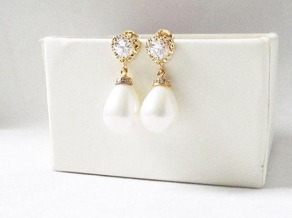 teardrop pearl earrings gold pearl teardrop earrings, pearl wedding earings, pearl drop earrings, drop pearl earrings, bridal jewelry
